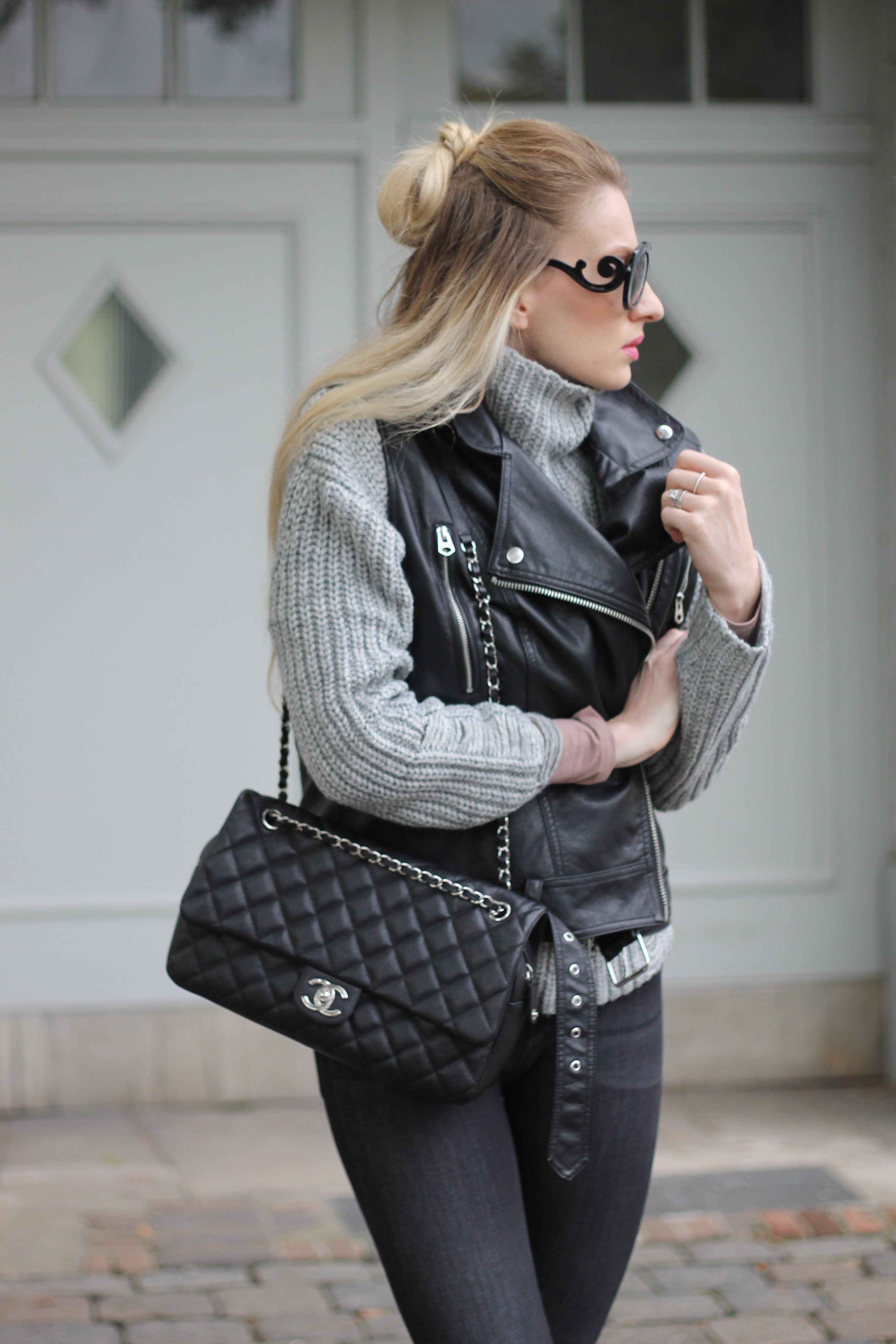 Mon Mode, Fashionblog, Berlin, Knitwear, Chunky Knits, Vest, Biker Vest, Leather Vest, Celine Sunglasses